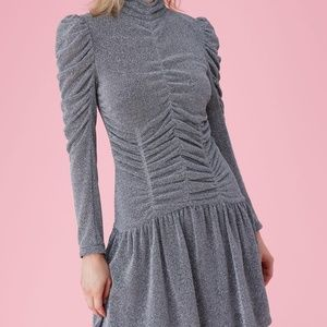 Rebecca Taylor Ruched Long-Sleeve Silver Dress